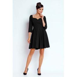 Czarna Kobieca Rozkloszowana Sukienka z Dekoltem w Serce
