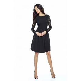 Czarna Wizytowa Sukienka z Koronkowym Długim Rękawem