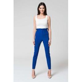Niebieskie Eleganckie Spodnie z Wysokim Stanem z Falbanką