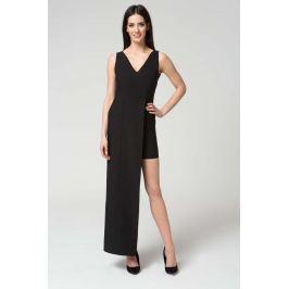 Czarna Wyjściowa Dopasowana Sukienka z Asymetrycznym Dołem