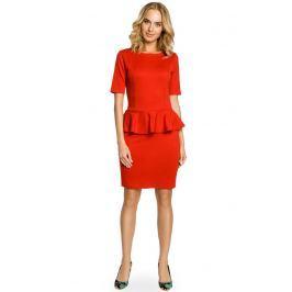Czerwona Elegancka Dzianinowa Sukienka z Baskinką