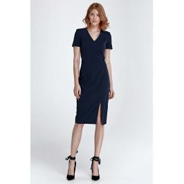Granatowa Sukienka Dopasowana Midi z Dekoltem w Szpic