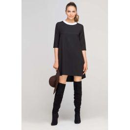 Czarna Sukienka Trapezowa z Ozdobną Listwą przy Dekolcie
