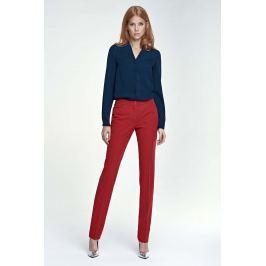Czerwone Spodnie Eleganckie w Kant