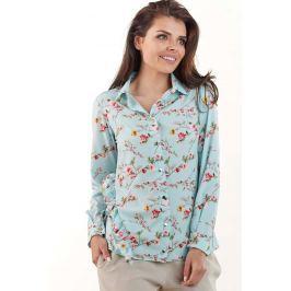 Niebieska Koszulowa Bluzka w Drobne Kwiatki z Falbankami