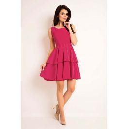 Różowa Elegancka Rozkloszowana Sukienka z Baskinką