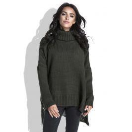 Oliwkowy Sweter z Szerokim Golfem