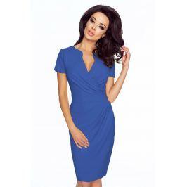 Niebieska Elegancka Sukienka z Założeniem Kopertowym