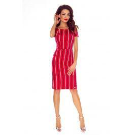 Ołówkowa Czerwona Wzorzysta Sukienka z Wcięciem na Plecach