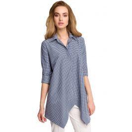 Asymetryczna Luźna Koszula w Granatową Drobną Kratkę