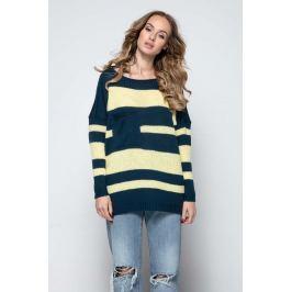 Granatowy Luźny Sweter w Paski z Naszytą Kieszenią