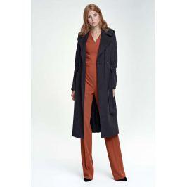 Czarny Płaszcz Długi Klasyczny z Paskiem