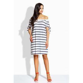 Granatowo Biała Sukienka z Dekoltem Typu Carmen