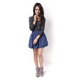 Niebieska Marszczona Mini Spódnica z Falbankami