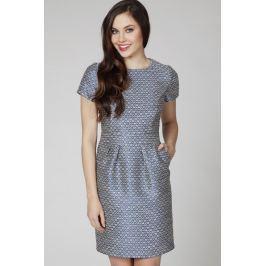Granatowa Wizytowa Elegancka Sukienka z Żakardowej Tkaniny