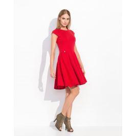 Czerwona Rozkloszowana Sukienka Koktajlowa z Niewielkim Rękawkiem