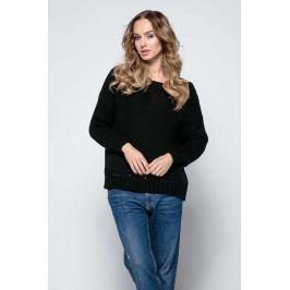 Czarny Milutki Sweter z Ażurowymi Wstawkami