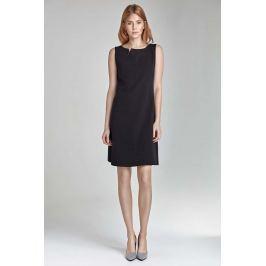 Czarna Mini Sukienka z Rozcięciem przy Dekolcie bez Rękawów