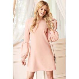 Brudno Różowa Sukienka w Kształcie Litery A z Efektownym Rękawem