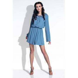 Niebieska Sukienka z Rozkloszowanymi Rękawami