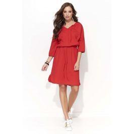 Czerwona Wyjściowa Sukienka z Wiązaniem przy Dekolcie V