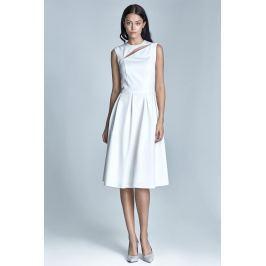 Ecru Wizytowa Midi Sukienka bez Rękawów z Pęknięciem przy Dekolcie