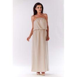Beżowa Maxi Sukienka z Odkrytymi Ramionami