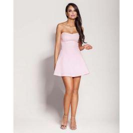 Różowa Mini Sukienka z Odkrytymi Ramionami
