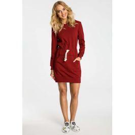 Bordowa Sukienka Sportowa Mini z Kapturem