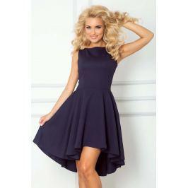 Granatowa Sukienka bez Rękawów z Rozkloszowanym Asymetrycznym Dołem