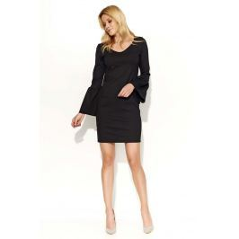 Czarna Sukienka Mini z Dzwonkowym Rękawem
