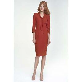 Ruda Sukienka Elegancka z Wiązaniem przy Dekolcie