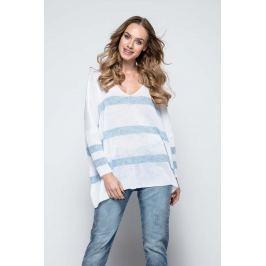 Biały Oversizowy Sweter w Paski z Dekoltem w Szpic