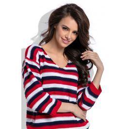 Czerwony Lekki Sweter w Paski z Dekoltem V