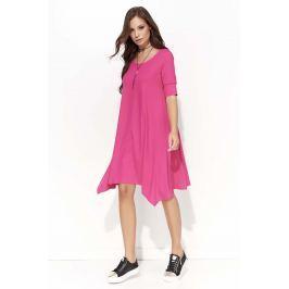 Fuksja Trapezowa Sukienka z Wydłużonymi Bokami