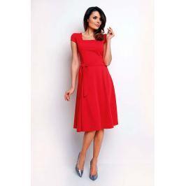 Czerwona Wyjściowa Rozkloszowana Sukienka z Dekoltem Karo