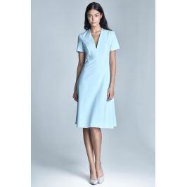Elegancka Błękitna Sukienka Midi z Głębokim Dekoltem w Szpic