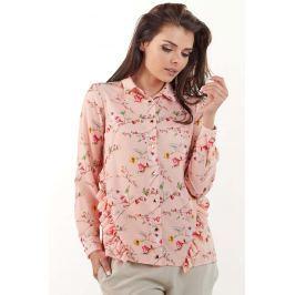 Różowa Koszulowa Bluzka w Drobne Kwiatki z Falbankami