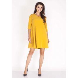 Żółta Sukienka w Serek z Kontrafałdą