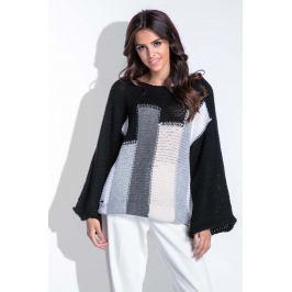Wielokolorowy Czarny Nietoperzowy Sweter