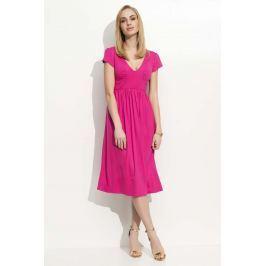 Fuksja Sukienka Midi z Marszczeniami