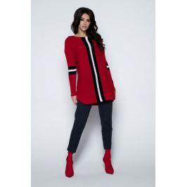 Czerwony Długi Sweter -Tunika z Kontrastowymi Paskami