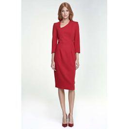Czerwona Sukienka z Asymetrycznym Dekoltem