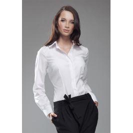 Biała Elegancka Koszula z Okrągłym Kołnierzykiem