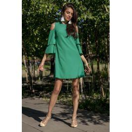 Zielona Koktajlowa Sukienka z Wyciętymi Ramionami