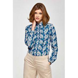 Koszulowa Bluzka z Zakładkami przy Dekolcie w Kwiaty