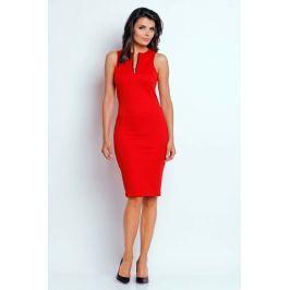 Czerwona Ołówkowa Letnia Sukienka z Kontrastowym Zamkiem