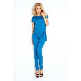 Niebieski Kombinezon Elegancki Wieczorowy