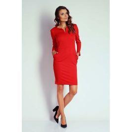 Czerwona Dopasowana Sukienka z Suwakiem przy Dekolcie