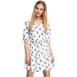 Ecru Sukienka Wzorzysta w Stylu Boho Model 2